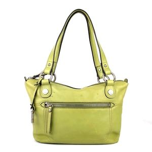 FOSSIL Green Leather Satchel Handbag